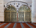 Two arched engraved golden doors at Suleymaniye Mosque Royalty Free Stock Photo