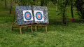 Two archery targets in the park Royalty Free Stock Photos