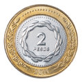 Two argentinian peso coin isolated on white background Royalty Free Stock Images