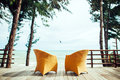 Two armchairs on the beach seaview nobody luxury resort with Royalty Free Stock Images