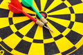 Two arrow on the dartboard concept image in title of competition to show by one Royalty Free Stock Images