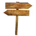Two arrows crossroad wooden blabk signs isolated blank directional copy space white Royalty Free Stock Photography