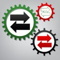 Two arrows left-right sign. Vector. Three connected gears with i