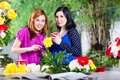 Two asian girlfriends with flowrers stylish cutting flowers and bind them to bouquets in exotic environment Royalty Free Stock Photography