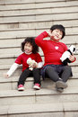 Two Asian little girls posing Stock Images