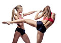 Two attractive athletic girls fighting isolated on white background Stock Images