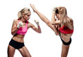 Two attractive athletic girls fighting isolated on white background Royalty Free Stock Image