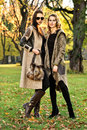 Two attractive girl friends wearing elegant clothes posing in autumn park. Royalty Free Stock Photo