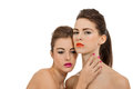Two attractive young woman with colorful lipstick women portrait isolated Stock Images