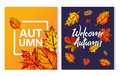 Two Autumn Typographic Paint Watercolor Fall Leaves Poster