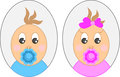 Two babies portraits, boy and girl Royalty Free Stock Photo