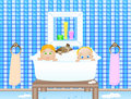 Two baby in bathroom Stock Images