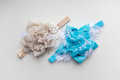 Two baby headband, flower made of fabric and lace, beads Royalty Free Stock Photo