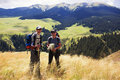 Two backpackers in the mountain Stock Photos