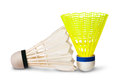 Two badminton shuttlecock isolated on white background Stock Photo