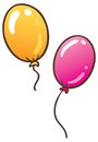 Two balloons children illustration of colour flying Stock Photos