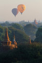 Two balloons over pagodas of Bagan Royalty Free Stock Photo