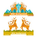 Two banner crumpled paper background with deer opposing and forest and mountains on horizon flat style Royalty Free Stock Image