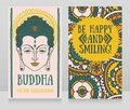 Two banners with Buddha head and ethnic ornament Royalty Free Stock Photo