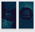 Two banners with doodle ornament in boho style Royalty Free Stock Photo