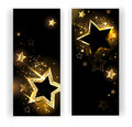 Two banners with gold stars Royalty Free Stock Photo