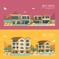 Two banners with hotel building Royalty Free Stock Photo