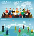 Two banners with people of different occupations. Professions icons set. Flat design. Vector