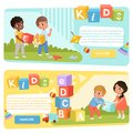 Two banners with preschool kids with colored ABC cubes. Speech therapy. Playful learning. Flat vector design for child