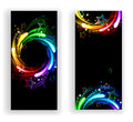 Two banners with rainbow stars Royalty Free Stock Photo