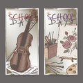 Two banners with school related color sketches featuring art tools and violin on blackboard background.