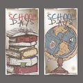 Two banners with school related color sketches featuring books and globe. Royalty Free Stock Photo