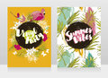 Two banners for summer vinyl party Royalty Free Stock Photo