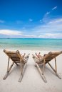 Two beach chairs on perfect tropical white sand in boracay philippines see my other works in portfolio Stock Image