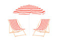 Two beach sun loungers and an umbrella isolated on white background Stock Photography