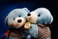 Two bears on blue gradient cute background Stock Image
