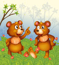 Two bears in the garden illustration of Stock Photos