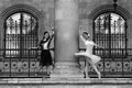 Two beautiful ballerinas dancing outdoor Royalty Free Stock Photo