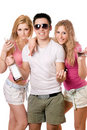 Two beautiful blonde women and young man Royalty Free Stock Photo