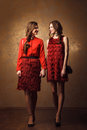 Two beautiful cheerful women walking in red dress Royalty Free Stock Photo