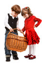 Two beautiful children with basket Stock Image