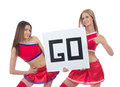 Two beautiful dancer girls from cheerleading Stock Photography