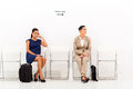 Two beautiful female candidates waiting job interview Stock Image