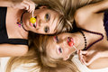 Two beautiful girls with bright makeup Royalty Free Stock Photos