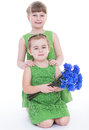 Two beautiful little girl with a beautiful bouquet of blue flowers Royalty Free Stock Images