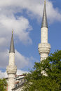 Two beautiful mosque minarets Royalty Free Stock Photo