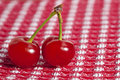 Two beautiful ripe cherries with stems on red gingham tablecloth Stock Photo