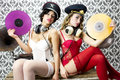 Two beautiful sexy disco women in lingerie with vintage gramophones Stock Image