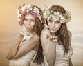 Two beautiful spring fairy , brides sending a kiss to you Royalty Free Stock Photo