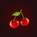 The two beautiful transparent cherries with leaf Royalty Free Stock Photo