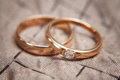 Two beautiful wedding rings with brilliants Royalty Free Stock Photo